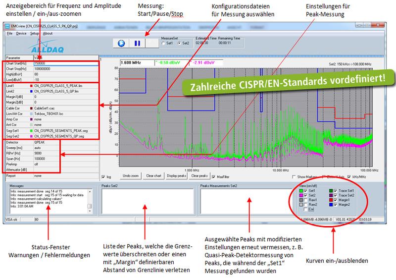 EMCview Arbeitsbereich