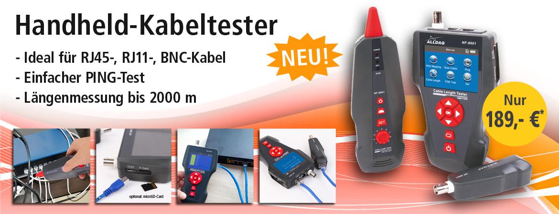 Handheld-Kabeltester für RJ45, RJ11, BNC, PING-Test, Kabellängenmessung